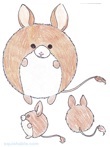 Drawn rat jerboa Squishable Adorable Fuzzy Jerboa Plush