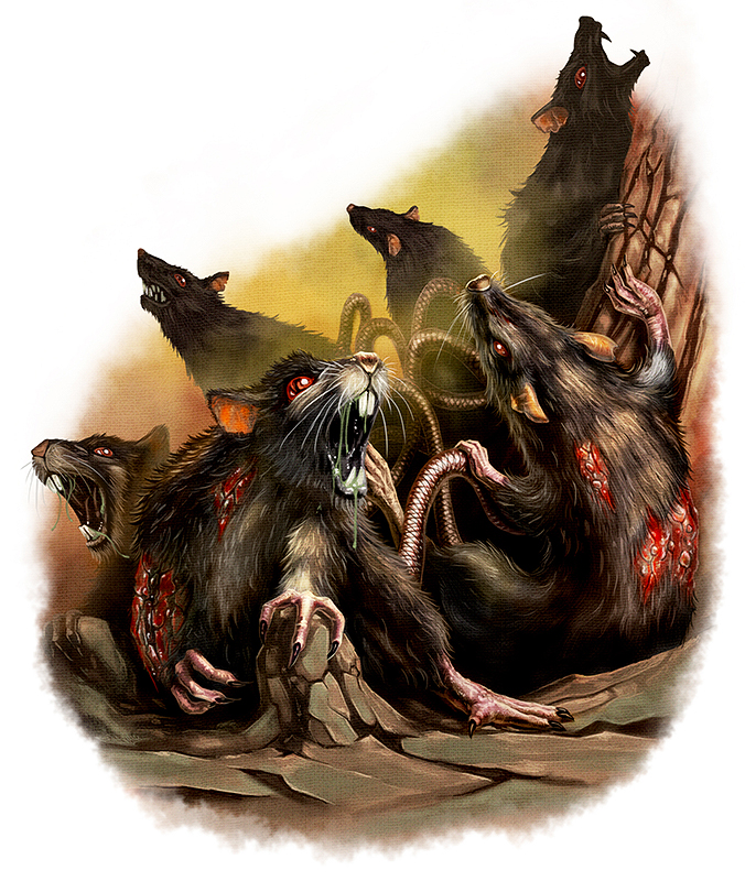 Drawn rat swarm King rats are of a