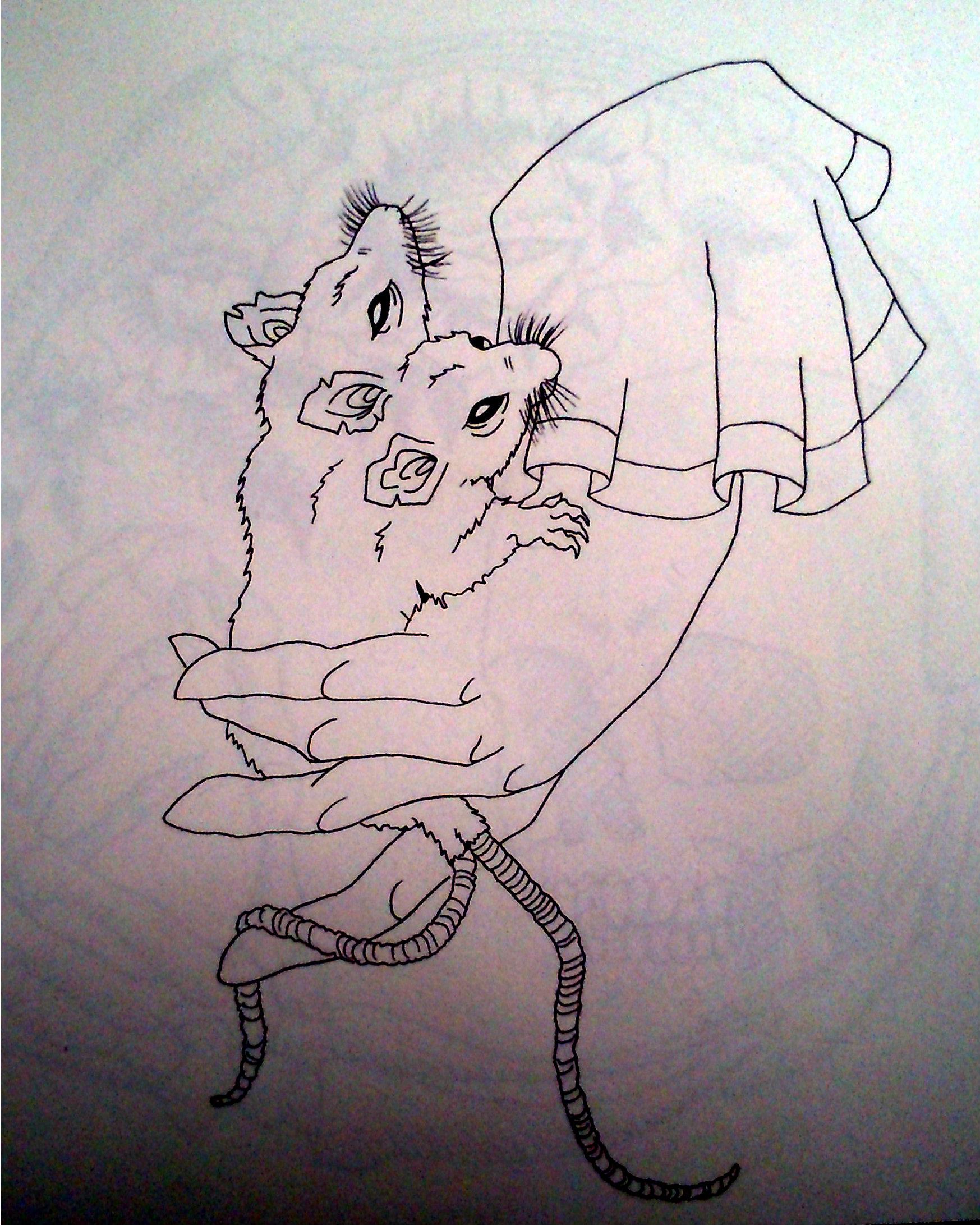 Drawn rat two Book Tattoo Headed Two Beresford