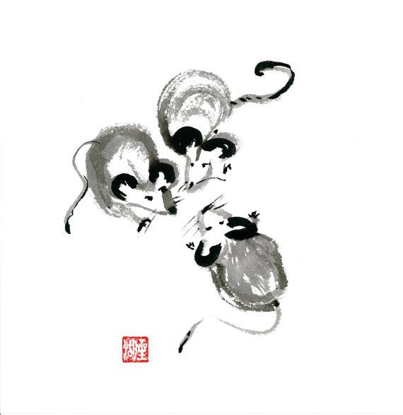 Drawn rat year Zen of the Brush Zen