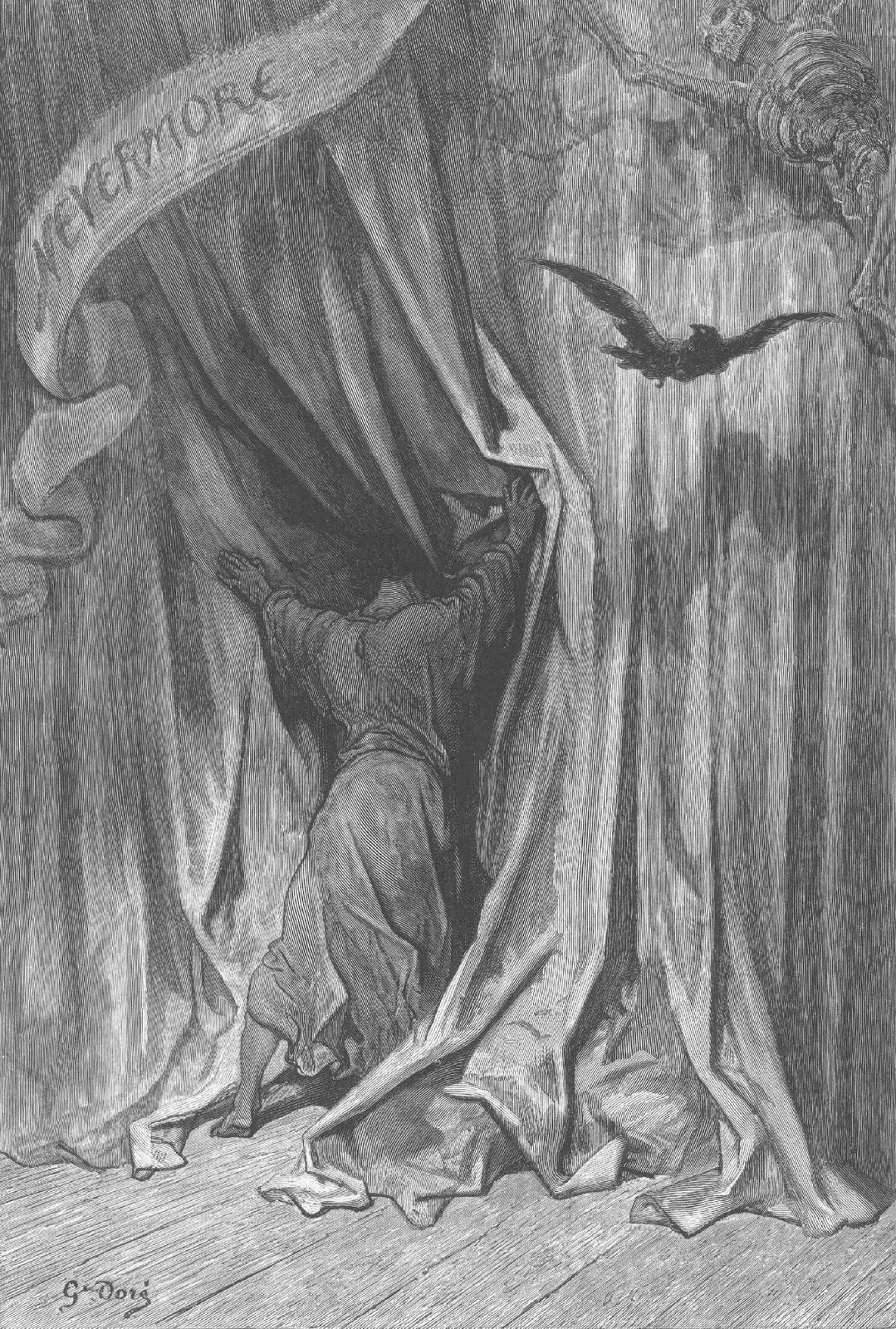 Drawn raven above Poe's he