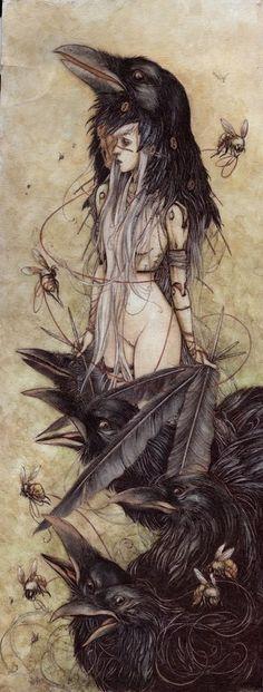 Drawn raven above Também e conflito deusa Study