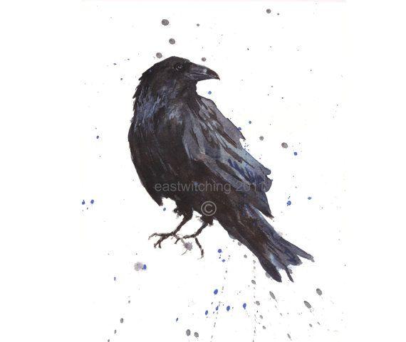 Drawn raven above By raven birds Print art