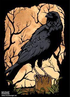 Drawn raven art deco Pixels Crow Ivory Deco 236×327