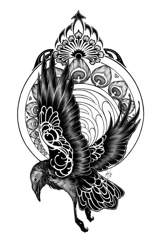 Drawn raven art deco Tattoo nouveau deviantART ~theumbrella raven