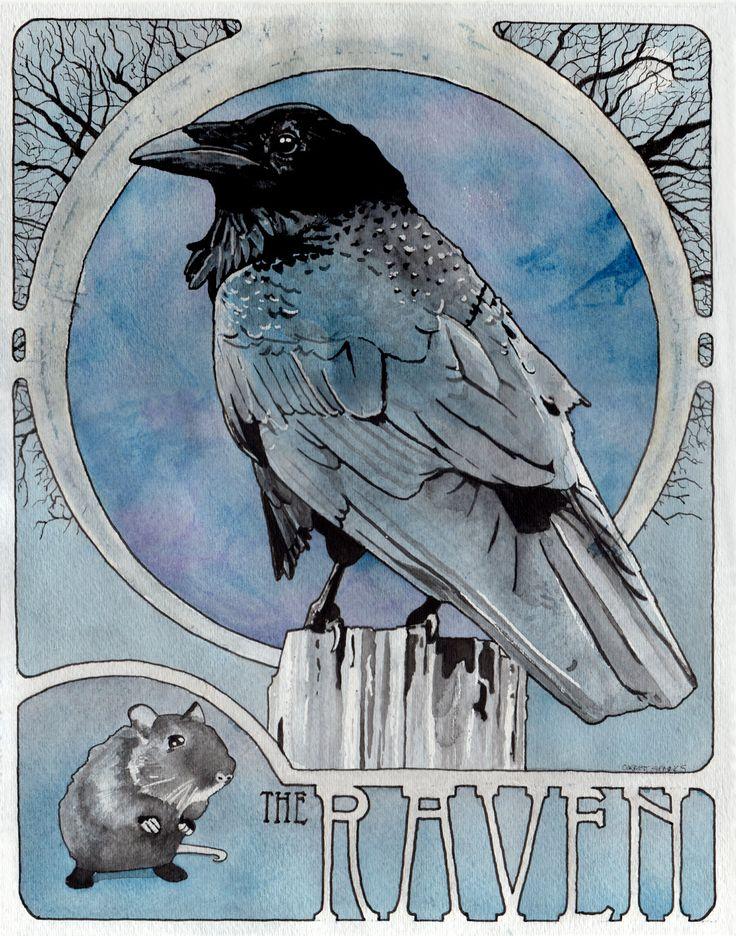 Drawn raven art nouveau The Art archival Nouveau Raven