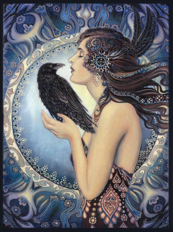 Drawn raven art nouveau Raven Celtic Mythology Witch Goddess