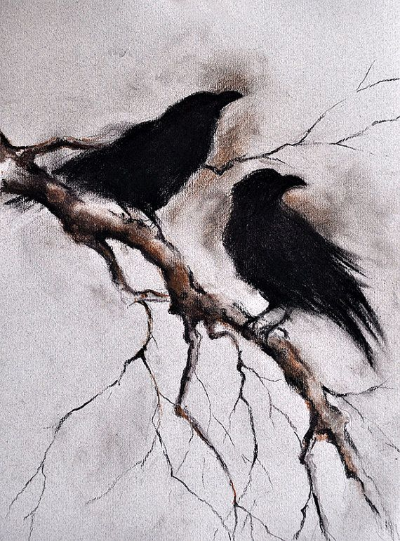 Drawn raven artistic Crow Halloween Wall Art Ravens