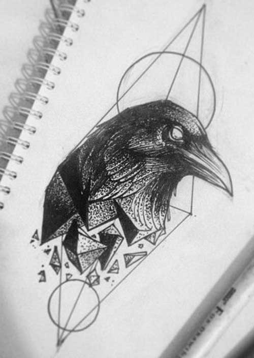 Drawn raven badass Raven Pinteres… … Tattoos Geometric