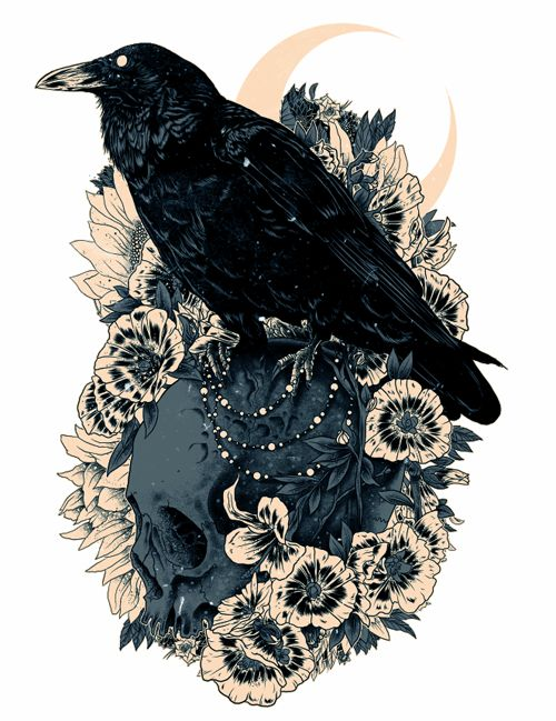 Drawn raven badass Illustration ideas tattoo Raven Crow