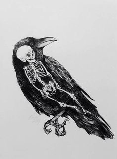 Drawn raven black and white Nevermore print raven decor Allan
