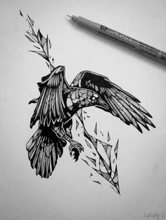 Drawn raven bloody And Crows arrow Raven and