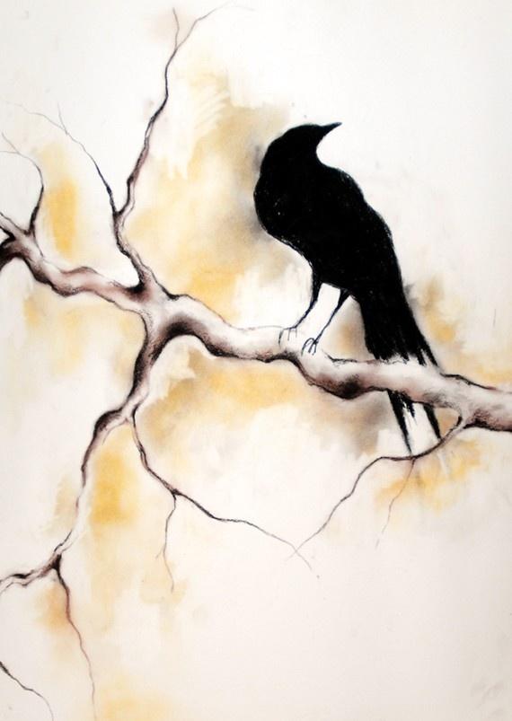 Drawn raven charcoal Drawing original charcoal Raven Crows