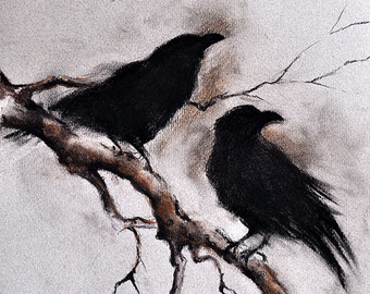 Drawn raven charcoal Gothic Raven Flying Original Raven