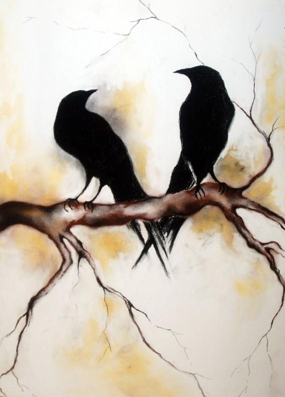 Drawn raven charcoal Branch on a Original Ravens