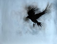 Drawn raven charcoal Gothic Raven Flying Original Halloween