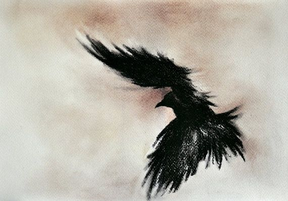 Drawn raven charcoal Gothic drawing dark Flying and