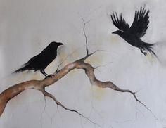 Drawn raven charcoal Gothic Art Dark Original Hugin