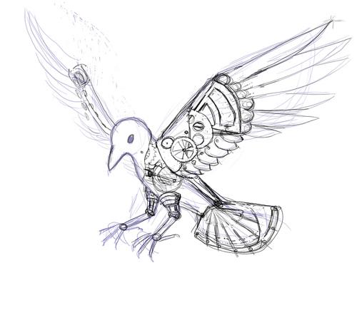 Drawn raven clockwork Clockwork (sketch) practi… I progress