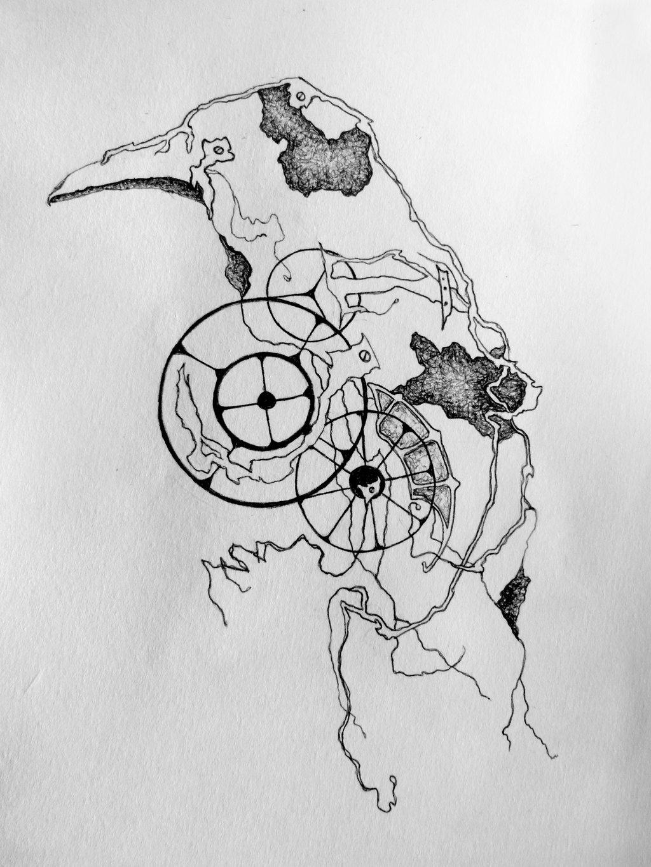 Drawn raven clockwork By Clockwork on zavodnoy Clockwork