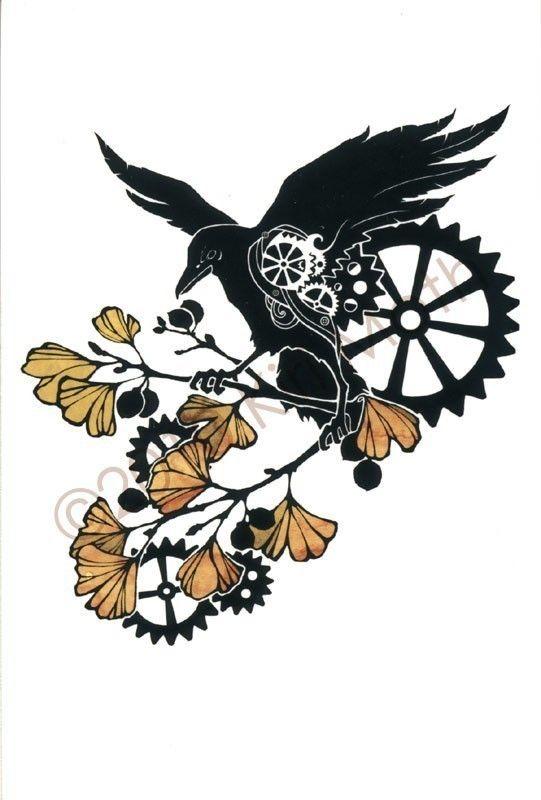 Drawn raven clockwork Print cycle Raven Etsy via
