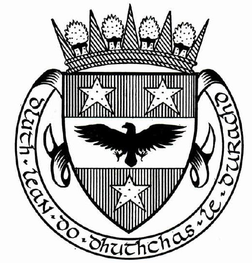 Drawn raven coat arms (crest) of Coat Sutherland of
