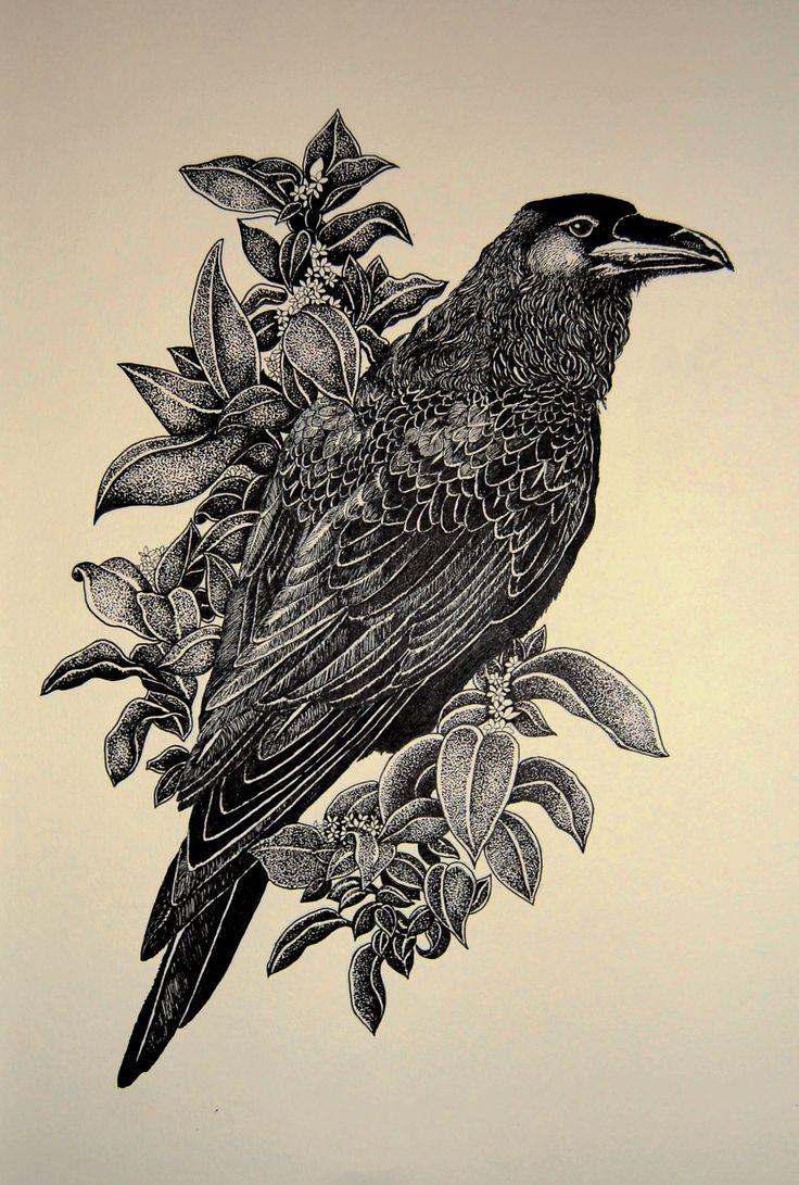 Drawn raven creepy Pinterest botanical ideas TattoosBird 20+