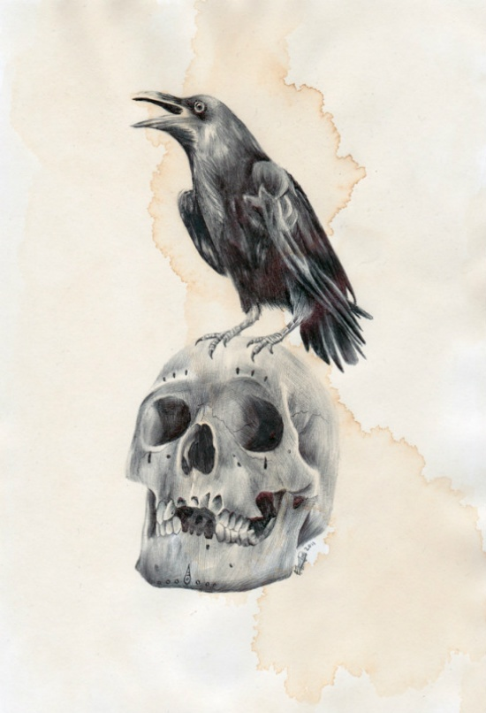 Drawn raven creepy Best Raven skulls} A4 Drawn