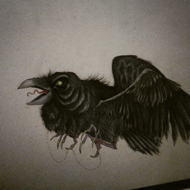 Drawn raven creepy Johnxcrow Instagram on bird drawing