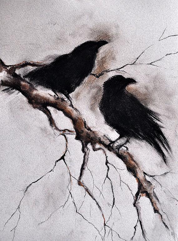Drawn raven cute Charcoal Charcoal Original Branch Ravens
