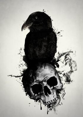 Drawn raven dead Munin pagan raven huginn viking