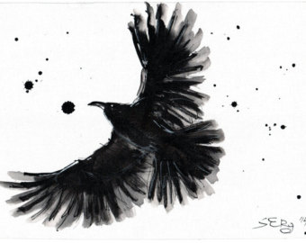 Drawn raven easy Raven Google flying INK drawing