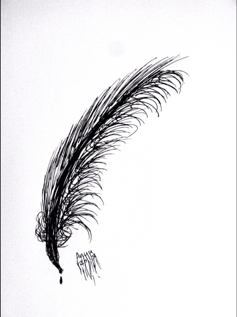 Drawn raven feathered Drawing feather Raven drawing Raven