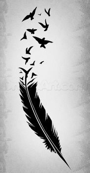 Drawn raven feathered Poe feather black Feather to