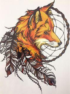 Drawn raven fox Feather Tattoo CM Waterproof X