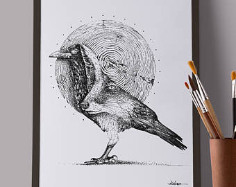 Drawn raven fox Dotwork fountain black the series