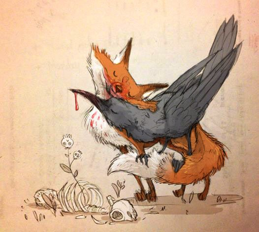 Drawn raven fox Illustrations best more and Pin