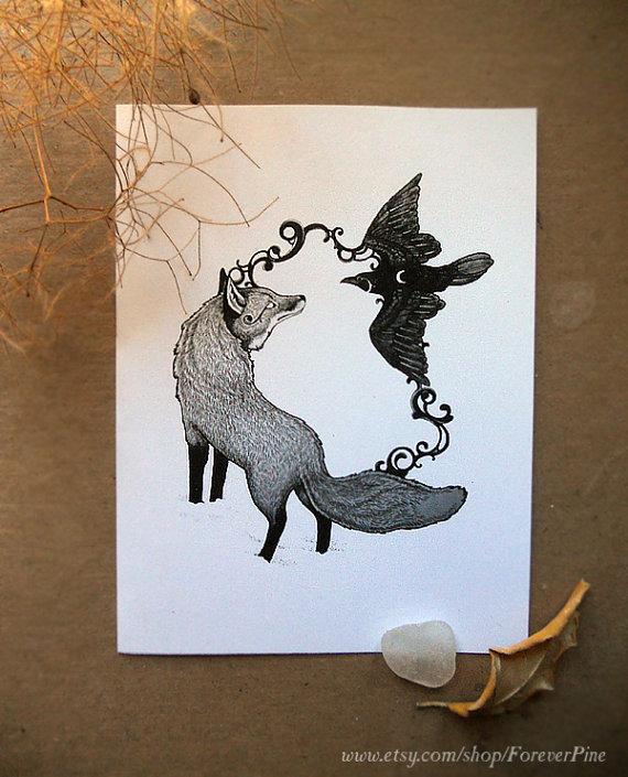 Drawn raven fox 5 Raven Fox Print illustration