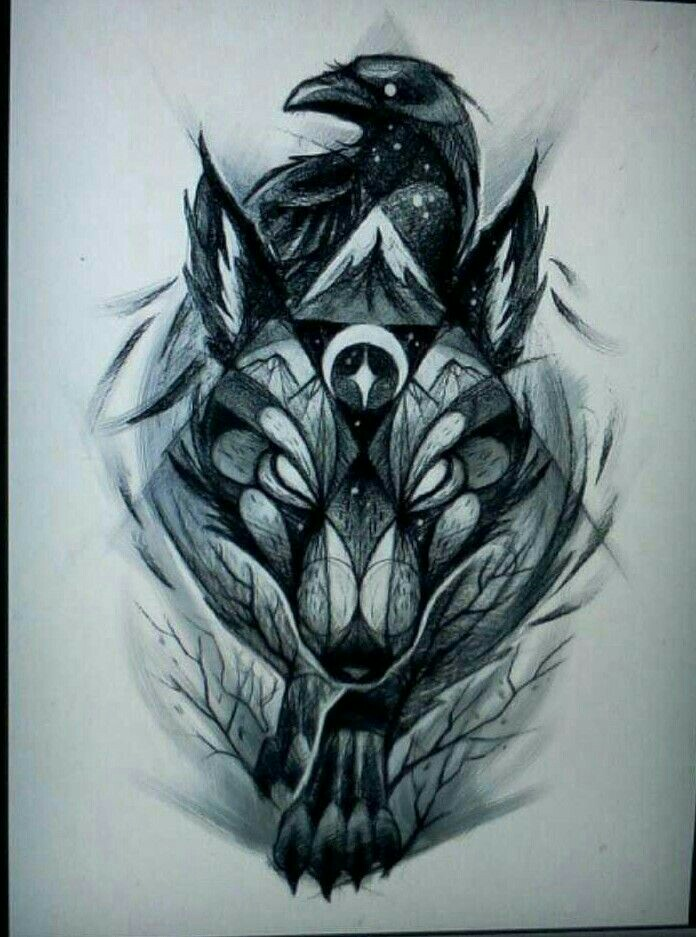 Drawn raven geometric Pinterest and and the Wolf