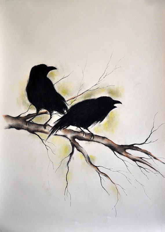 Drawn raven gothic Gothic Drawing Flying Original Charcoal