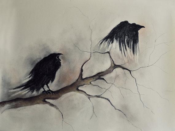Drawn raven gothic Drawing Halloween Flying Gothic Original
