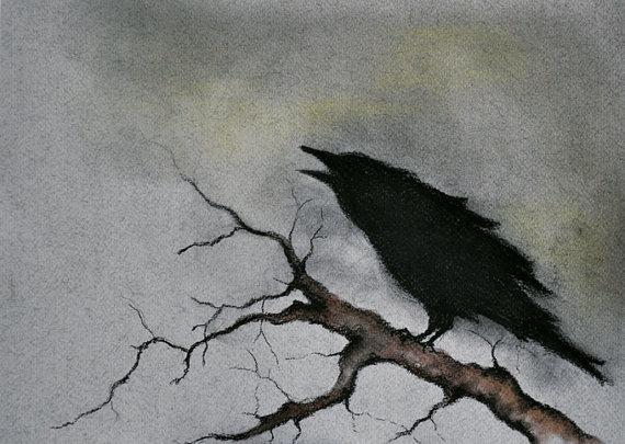 Drawn raven gothic Art Branch Crow Original a