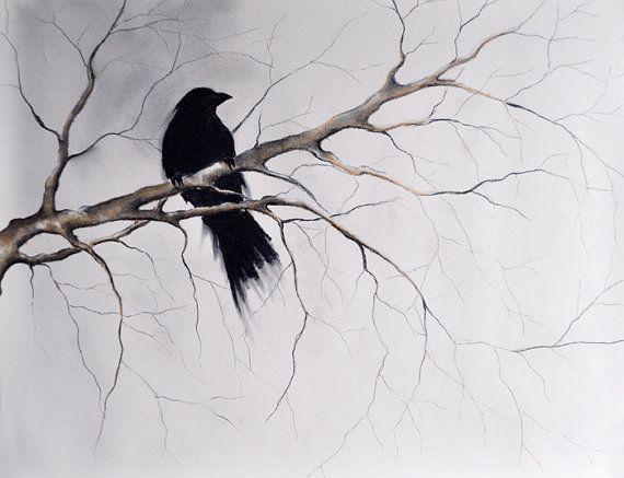 Drawn raven gothic On ORIGINAL best Charcoal Art