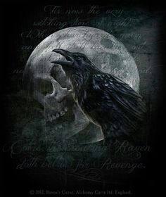 Drawn raven gothic Powerful magic spell 'Ravens black