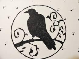 Drawn raven gothic Deco Midnight Steampunk Hand Wiccan