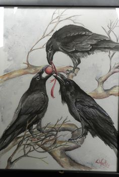 Drawn raven halloween Crows ravens original RavenviewStudio Raven