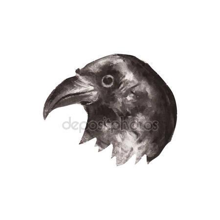 Drawn raven halloween Stock — drawn Vintage Vintage