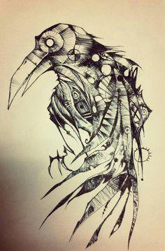 Drawn raven halloween 7ae1ac222f80f7c93e275cc88a30e9eb_h pen raven 480