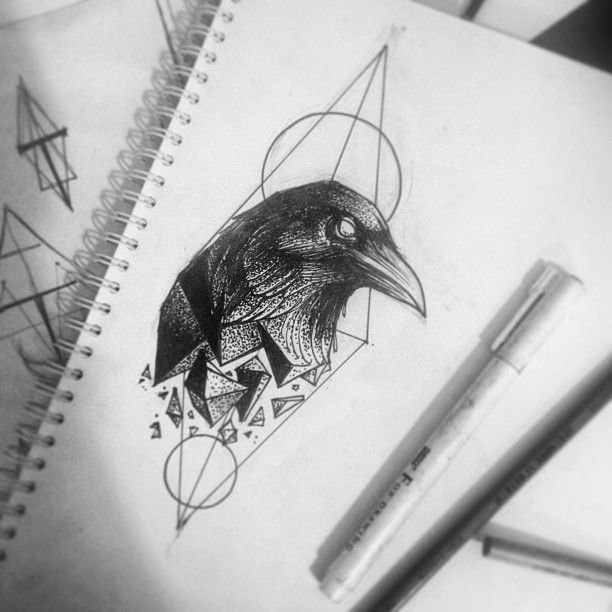Drawn raven head Alex Best @alex_tabuns tattoo Corvo