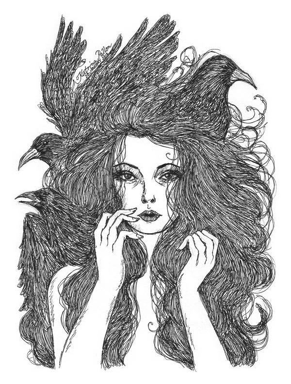 Drawn raven hippie chick Day girl Raven MASKS Literally